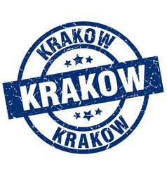 Krakow blue round grunge stamp vector