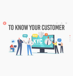 Kyc know your customer landing page template vector
