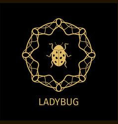 ladybug in calligraphy framework label vector image vector image