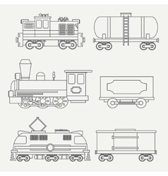 Line modern and vintage trains with cargo wagons vector image