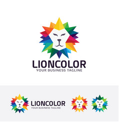lion color logo design vector image
