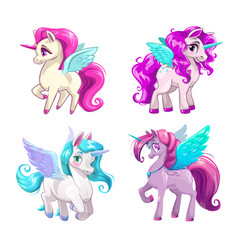 Little cute cartoon pegasus icons set vector