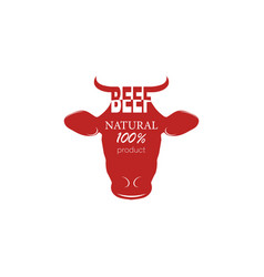 logo fresh beef cow natural product on a white vector image