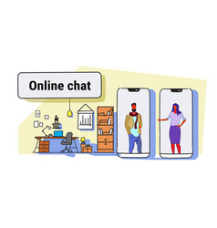 man woman chatting from smartphone screens vector image