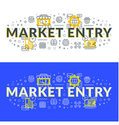 market entry flat line concept for web banner and vector image