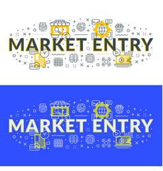 Market entry flat line concept for web banner vector
