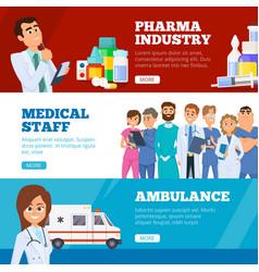 medical banners doctors ambulance and pharma vector image