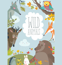 nature frame with trees animal and birds vector image