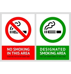 No smoking and Smoking area labels - Set 9 vector