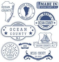 Ocean county New Jersey stamps and seals vector