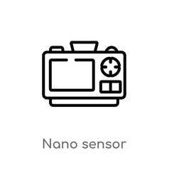 Outline nano sensor icon isolated black simple vector