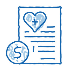Paid services price doodle icon hand drawn vector
