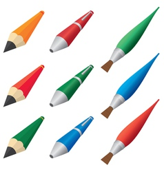 Pens and pencils vector image vector image
