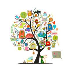 Pet shop art tree for your design vector