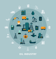 petroleum icons round composition vector image