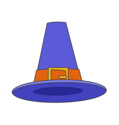 Pilgrim blue hat flat icon vector