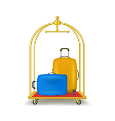 realistic 3d detailed luggage trolley cart vector image