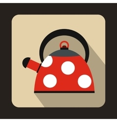 Red kettle with white dots icon flat style vector image