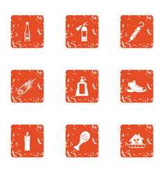 Rest in the country icons set grunge style vector