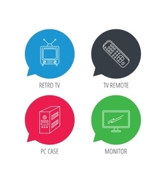 Retro TV PC case and monitor icons vector