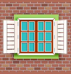 retro vintage wooden window on red raw brick wall vector image