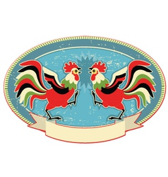 Rooster fight color background vector
