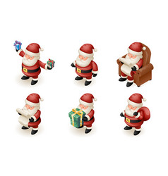 santa claus isometric 3d read gift list sit vector image