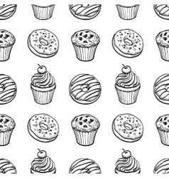 Seamless pattern with pastry sweets vector image