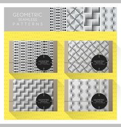 Set geometric seamless pattern 8 vector