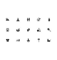 set of 15 editable infant icons includes symbols vector image