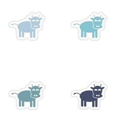 Set of paper stickers on white background cow vector