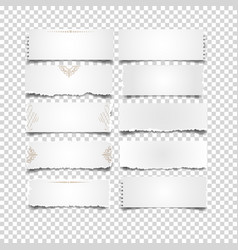 Set of white notes paper on transparent background vector