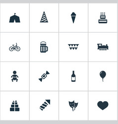 set simple holiday icons vector image