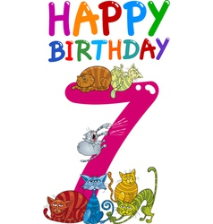seventh birthday anniversary card vector image