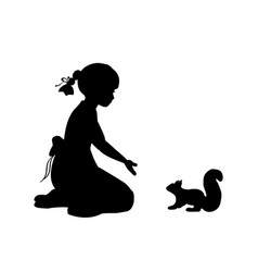 silhouette girl sitting knees beckon squirrel vector image