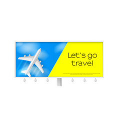 silver airplane in blue sky with clouds billboard vector image