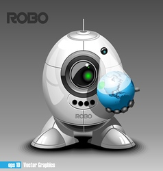 Silver robo eyeborg projecting the planet earth in vector