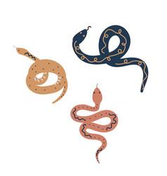 snake scandi style set hand drawn reptiles vector image