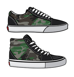 Sneakers camo design vector