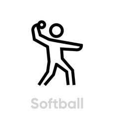 Softball sport icons vector