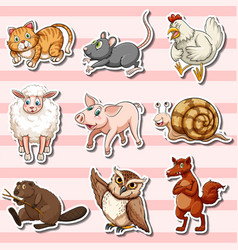 Sticker set with cute animals on pink background vector