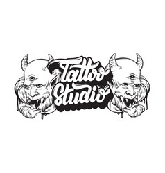 tattoo studio handwritten trendy lettering with vector image