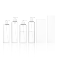 Transparent cosmetic plastic bottles with vector