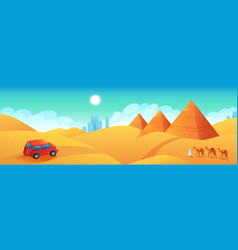 Travel to egypt banner car trip to pyramids vector