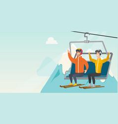 Two caucasian skiers using cableway at ski resort vector