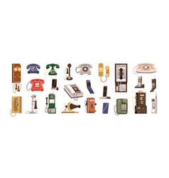 vintage telephones and modern mobile phones set vector image