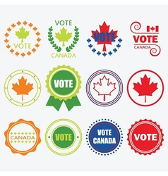 Vote Canada emblems and design elements set vector image