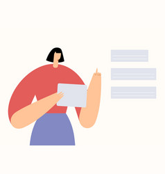 woman with tablet making a choice in application vector image