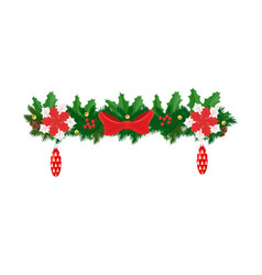 xmas decorative element fir-tree branches decor vector image
