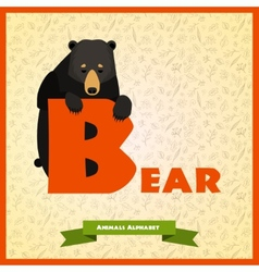 B letter with black bear behind vector image vector image